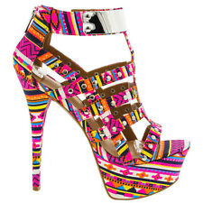 Dollhouse Pink Aztec Open toe Pump Stiletto Heels Platform Sandal Women's shoes