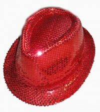 Unisex  Red Fedora Trilby Gangster Hat Sequin Cap Hats Dance Party