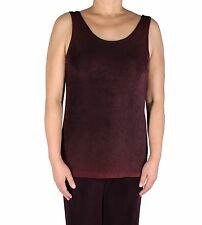 Women's Burgundy Tank Top Acetate Slinky Plus Size Knit Travel Stretch Casual