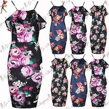 Ladies Floral Print Peplum Frill Low Back Bodycon Womens Cami Strappy Midi Dress