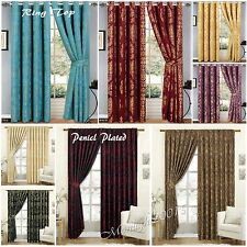 Ring Top or Pencil Pleat 100% Jacquard Pair of Curtains Fully Lined 2 Tie Backs
