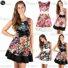 Womens Ladies Print Knot Bow Detail Top Contrast Panel Flared Skater Mini Dress