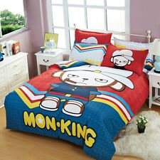 Fashion Monkey Quilt Duvet Cover Flat Sheet Pillowcase Custom 4 Pc Bedding Set