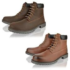 MENS REAL LEATHER CASUAL SMART LACE UP BROWN HIGH ANKLE BOOTS SHOES SIZE