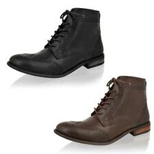 MENS RED TAPE REAL LEATHER BLACK BROWN SMART BROGUE LACE UP BIKER ANKLE BOOTS