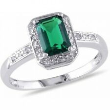 7/8 Carat T.G.W. Emerald-Cut Created Emerald and Diamond-Accent 10kt White Gold
