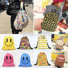 Smiley Emoji Backpack Travel Shoulder Laptop Bags Emoticon Womens Girls Rucksack