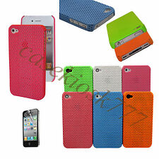 for iPhone 4 4S perforated six colors hard case blue hot pink white orange\