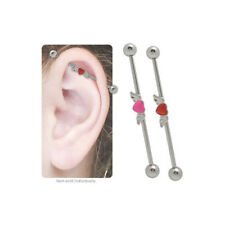 Industrial Barbell Body Jewelry Heart with Angel Wings 14g 38mm