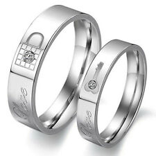 Fashion Lovers Rings Titanium Crystals Promise Key&Lock Love Couple Rings  Hot