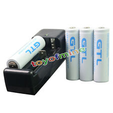 4x GTL 18650 10000mAh 3.7V White li-ion Rechargeable Battery + Universal Charger