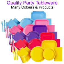 Disposable Paper Plates Party Tableware Napkins Cutlery Cups Plastic Sets Kits
