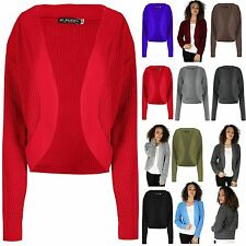 Womens Long Sleeve Chunky Knit Open Ladies Front Shrug Boyfriend Cardigan Top