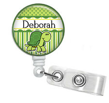 TURTLE PERSONALIZED RETRACTABLE ID BADGE HOLDER OR LANYARD