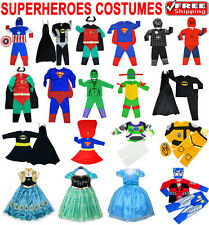 NEW SIZE 1-12 KIDS DRESS UP PARTY COSTUME SUPERHERO OUTFIT GIRL BATGIRL IRONMAN