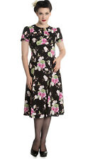 NEW HELL BUNNY BLACK 1950S 1940S RETRO VINTAGE PROM PARTY FLORAL DRESS 8-16
