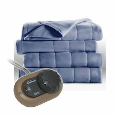 Heated Electric Blankets Quilted Fleece Full Size Dusty Blue Bed Blanket Throws