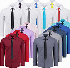 Mens Top Casual Formal Dress Shirts Long Sleeve Business Work Slim Fit + Tie NEW