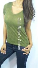 SEXY OLIVE GREEN BURNOUT SHEER SKULL BIKER HI LO TRENDY CASUAL RAGLAN TOP GN3