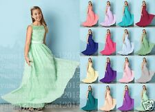 Floor-length Junior Bridesmaid Dress Chiffon / Lace A-line Scoop 4-16 years old