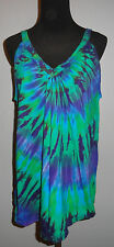 Tie dye dyed Womens  Deep V-Neck Tank Top Shirt Small Medium Large XL 2XL