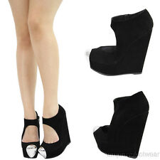 New Women Black Suede Cut Out Metal Cap Toe Platform Wedge High Heel Ankle Boots