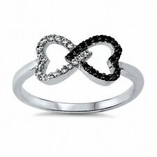 Infinity Knot Double Heart Ring 925 Sterling Silver Jet Black CZ Valentines Gift
