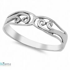 Filigree Petite Dainty Simple Plain Wedding Engagement Band Ring Sterling Silver
