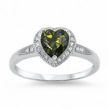 Halo Heart Promise Ring 925 Sterling Silver 1.20CT Peridot Green Russian CZ