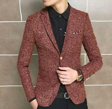 Hot Mens Woolen Slim Fit One Button Casual suit Jacket lapel Coat Blazer outwear