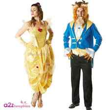 MENS LADIES DISNEY LICENSED BELLE BEAUTY AND THE BEAST ADULT FANCY DRESS COSTUME