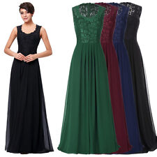 Sleeveless V-Neck Lace+Chiffon Formal Ball Gown Evening Prom Party Dress 8 Size