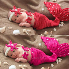 3pcs Newborn Infant Baby Girl's Mermaid Clothes Crochet Knited Outfit Dress Set