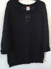 NEW! UNION BAY OPEN KNIT BLACK SWEATER-NWT~RV $36~JUNIORS SIZE M, XL~EXCELLENT