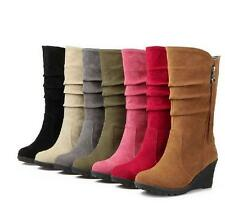 New womens Comfy Mid Calf Boots Pull On Slouch Wedge Heels Shoes plus size
