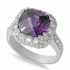 Halo Dazzling Engagement Ring 925 Sterling Silver 2.30CT Amethyst Russian CZ
