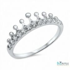 King Queen Crown Ring Solid 925 Sterling Silver Brilliant Cut White Russian CZ