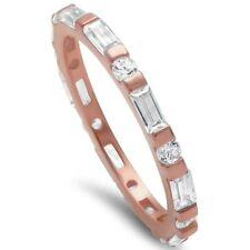 2mm Full Eternity Stackable Band Ring 925 Sterling Silver Rose Gold Russian CZ