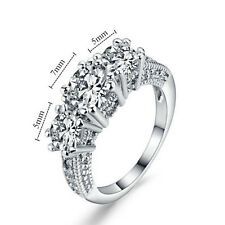 Size 6-9 White Sapphire Silver Wedding Band Ring 10KT White Gold Plated Jewelry