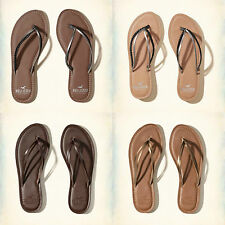 ❤ Hollister Women's Strappy Leather Sandals Flip Flops ❤ Brown or Bronze ❤ 6,7,8