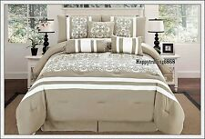 Latte White Embroidery Panel 7pc * KING QUEEN Comforter Set + Valance +3 Cushion