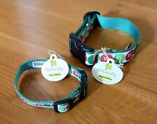 Up Country Dog Collar - Green and White Bow Wow design