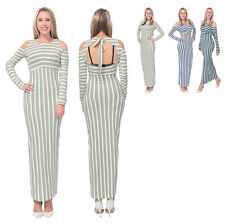 WOMEN'S CELEB STRIPED LONG MAXI BODYCON COLD SHOULDER DRESS LONG SLEEVE GOWN