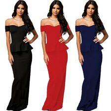 Sexy Off Shoulder Peplum Slim Maxi Formal Cocktail Party Gown Evening Long Dress