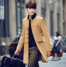 Mens Fashion Jacket Outwear Slim fit Long Woolen Trench Coat Korean stand collar