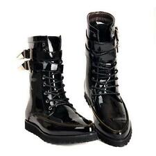 Mens military combat biker buckle mid calf boots patent leather high top shoes