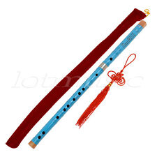 Blue Traditional Chinese Bamboo Flute Dizi Pluggable F Key Musical Instrument