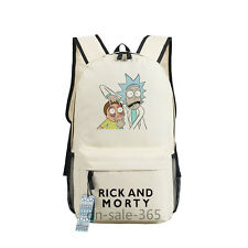 Rick and Morty Messenger Canvas Backpack School Black / White Bag New/wtag