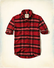NWT Hollister by Abercrombie Mens Plaid Flannel Shirt Red/Black 100 %Cotton