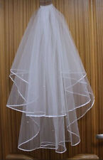White Ivory 2T Wedding Bridal Veil Satin Edge With Comb Elbow Elegant pearl